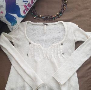 Free People cream beaded crop sweater